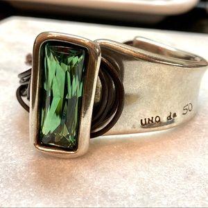 Uno De 50 Large Statement Bracelet Green Gemstone